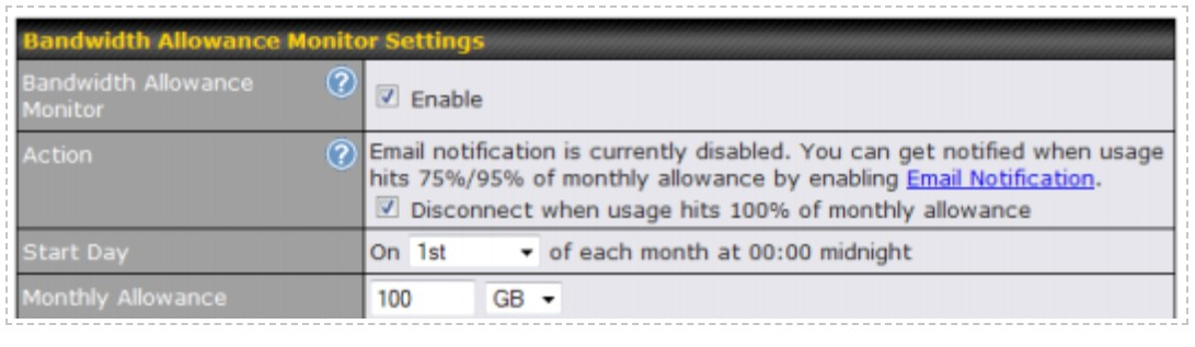 BandWidth Settings in Peplink Balance 20